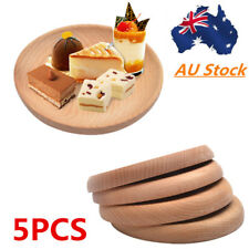 5PCS Solid Round Wood Serving Tray Food Dish Kitchen Tableware Wooden Plate AU!!