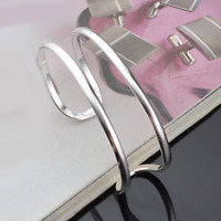 925 Sterling Silver Plated Double Cuff Bangle Women Bracelet Fashion Jewelry