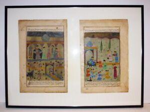 LARGE PERSIAN 19th CENTYRY GOUACHE PAIR - FRAMED - MUSEUM COA