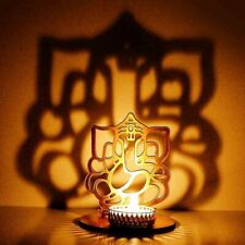 Lord Ganesha Diwali Puja Decoration T Light Golden Shadow Lamp Table Diya