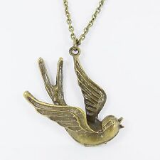 BIG BRONZE SWALLOW NECKLACE kitsch rockabilly sailor tattoo punk retro nautical