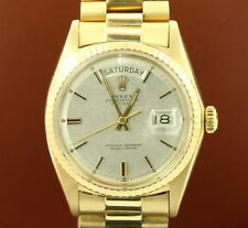 Rolex Men's Day-Date 1803 18K Yellow Gold President Silver Dial 36mm - Pre-Owned