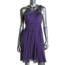 Sue Wong Purple Embellished One Shoulder Knee Length Cocktail Prom Dress Sz 6