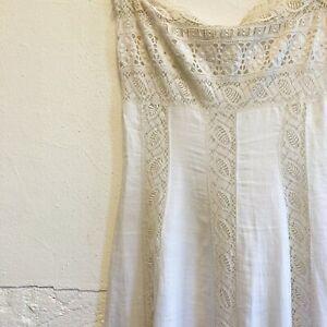 Vintage handmade midi maxi strapless dress white lace Edwardian Antique