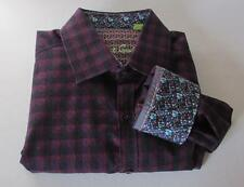 Robert Graham Redzone Bordeaux shirt L check wine embroidery sport cotton plaid