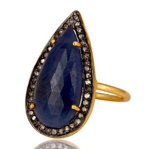18K Gold Sterling Silver Pave Set Diamond Blue Sapphire Statement Ring Jewelry