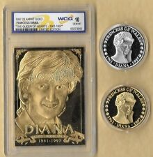 PRINCESS DIANA 1997 QUEEN OF HEARTS 1961-1997 23KT CARD, GOLD & SILVER COINS