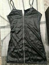 KINKY BLACK PVC WET LOOK MINI DRESS WITH ZIP FRONT MISTRESS SIZE 8 10 UK
