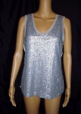 Cable & Gauge Women's Top Blouse Sleeveless Silver Grey Sequence NWT Size Medium