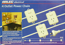 4 Outlet Power Chain - Set of 4 pre-wired power points / powerpoints - BRAND NEW