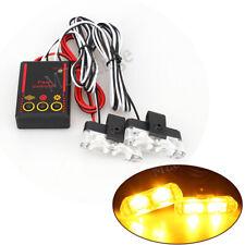 Amber 2X 2 LED Car Truck Warning Emergency Strobe Flashing Light Lamp Control