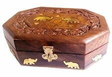 Majestic Wooden Jewelry Box Organizer Keepsake Storage Chest Hand Carved with El