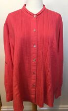 JASMINE Coral Pink 100% Linen Pleated Front Long Sleeve Button Down Shirt 5X