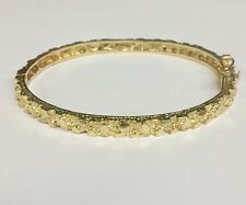 "14Kt Solid Yellow Gold Nugget Hinged Bangle/Bracelet 7"" 4.5 mm 15 grams"