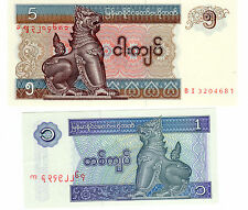 * Myanmar 1 + 5 KYATS BANCONOTA *