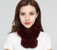 Women 100% Real Rex Rabbit Fur Scarf High Quality Soft Winter Warm Shawls Gift