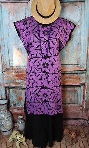 Hand Embroidered Huipil Dress Black & Purple Jalapa Oaxaca Mexico Hippie Fiesta