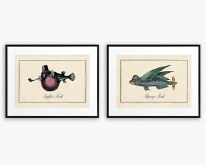 Funny Vintage Surreal Bathroom Fish Art Matching Set Pair Prints Quirky Gift