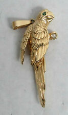 DELIGHTFUL 14K GOLD PARROT EMERALD EYE & DIAMOND BIRD BROOCH