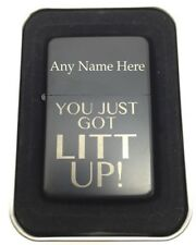 "Personalised Engraved Lighter, Black + Tin, ""You just got Litt UP!"" + Name.Suits"