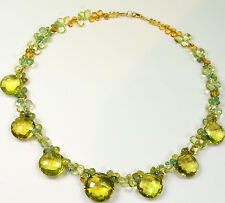 """Apatite Lemon Quartz Citrine 19.5"""" Cluster Necklace With 18K Solid Gold Clasp"""