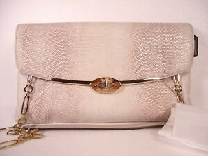 NWT COACH MADISON CLUTCH IN EMBOSSED LIZARD LEATHER LIGHT GOLD BEIGE F25233