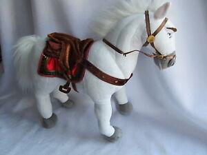 "DISNEY STORE Patch BENDABLE MAXIMUS Horse TANGLED White Large Stuffed Animal 14"""