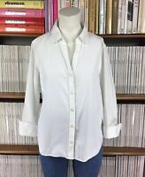 JAEGER top blouse shirt office formal smart collared button down UK 12 14