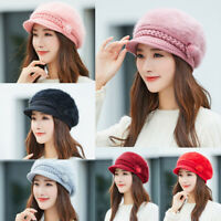 Women Ladies Winter Warm Floral Cap Beret Baggy Knit Crochet Beanie Hat Ski Cap