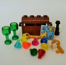New Genuine LEGO Brown Treasure Chest Goblets Keys Map + 9 Jewels Gems Crystals