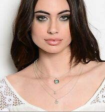 NWT SILVER TRIPLE STRAND TURQUOISE, RHINESTONE & ANCHOR NECKLACE