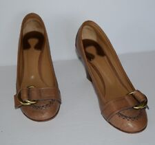 CHLOE BROWN LEATHER SLIP ON BUCKLE PUMPS WOMEN SZ 39.5/US 9.5 *GUC*