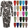 WOMEN'S LADIES LONG SLEEVE PLAIN PRINTED BODYCON MIDI JERSEY DRESS PLUS SIZE