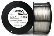 TEMCo Nichrome 60 series wire 32 Gauge 1.5 lb (8347 ft)Resistance AWG ga