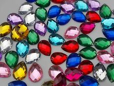 100 Mixed Faceted Beads Acrylic Rhinestones Gem  16mm Tear Drop Flat Back Sew On