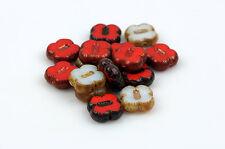 15 RED AND WHITE Poppy Flower Czech Glass Beads 12mm bgl1342