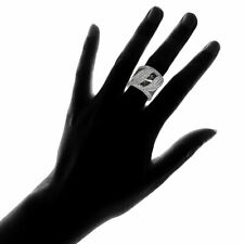 Sterling Silver Fashion Bridge Wide Ring Black White Cubic Zirconia 4Ct Real 925