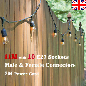 11M Black Cable Connectable Heavy Duty Indoor Outdoor Festoon String Lights Home