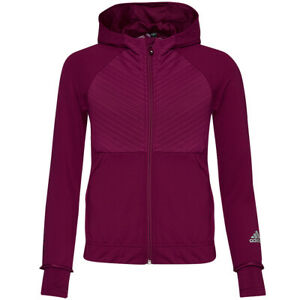 Adidas Coldready Full Zip Girl Sports Fitness Training Jacket FS6542 Red New