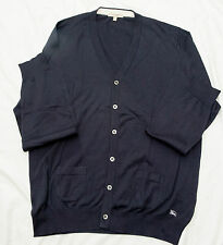 BURBERRY LONDON Button Front Navy Blue Large 100% Cotton Patch Pockets Cardigan