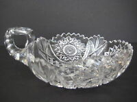 "Vintage American Brilliant Cut Crystal Glass Handled Bowl, 3"" H X 5 3/4"" W"