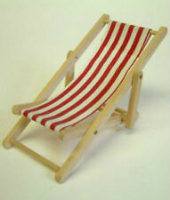 Dolls House Miniature Deckchair with Red & white stripes : 12th scale