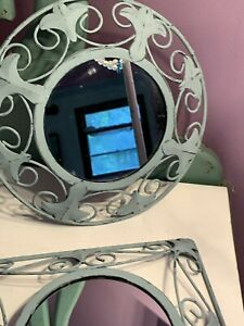 2 Home Interior Metal Ornate Wall Mirrors w/Dixie Belle Duck Egg Paint - Shabby