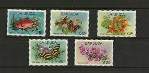 E827 Barbuda 1978 Flore Faune Poisson Papillons 5v. MNH