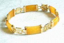 Yellow Jade Golden Fortune Emolument Longevity Property Luck Link Clasp Bracelet
