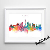 PARIS SKYLINE MAP Print Poster Watercolour Framed Canvas Wall Art Gift CITY