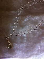 Sterling Silver Bracelet , With Cat Charm. Rolo Style ,
