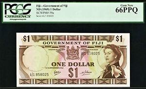 Fiji QEII One Dollar 1969 Prefix A/1 Pick-59a GEM UNC PCGS 66 PPQ