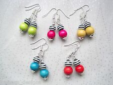 BLACK & WHITE Stripe Wood Bead Drop Earrings Hot Pink Yellow Teal Green Red