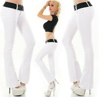 Ladies Hip Jeans Trousers Flare Bootcut Denim White Incl. Belt Stretch XS-XL